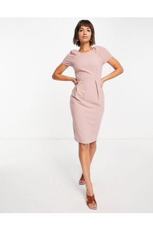 Closet Cap sleeve woven pencil dress in dusky rose-Pink