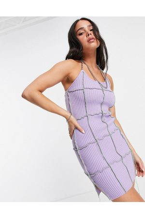 The Ragged Priest Mini dress with chain halterneck and exposed seams in rib-Purple