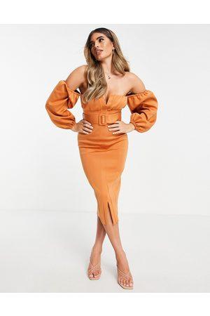 ASOS Senhora Vestidos de Festa - Off shoulder ruched bust belted pencil midi dress in orange-Multi