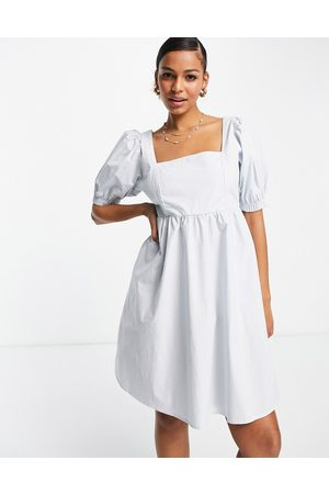Pieces Puff sleeve mini smock dress in blue