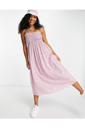 & Other Stories Organic cotton shirred midi dress in pink floral