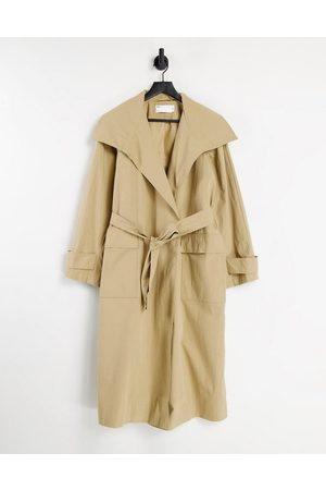 ASOS DESIGN Collared luxe trench coat in stone-Brown