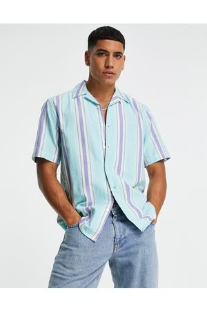 Only & Sons Short sleeve shirt with revere collar in blue stripe