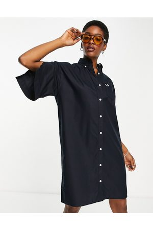 Fred Perry Boxy shirt dress with split sleeves in navy