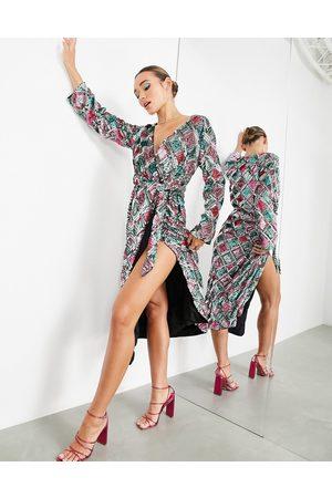 ASOS EDITION Diamond belted wrap midi dress in sequin-Multi