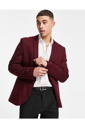 ASOS DESIGN Super skinny jersey blazer in dark burgundy-Red