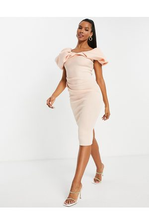 ASOS DESIGN Bubble sleeve fallen shoulder pencil midi dress in pink-Neutral