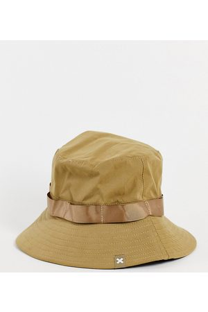 Collusion Unisex fisherman hat with chin tie in stone-Neutral