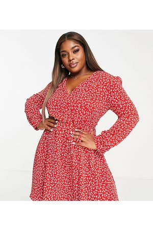 Glamorous Curve Tie waist swing dress in red ditsy floral