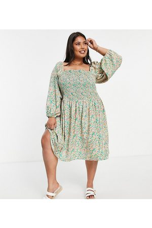 ONLY Midi smock dress with shirring and volume sleeves in green floral print-Multi