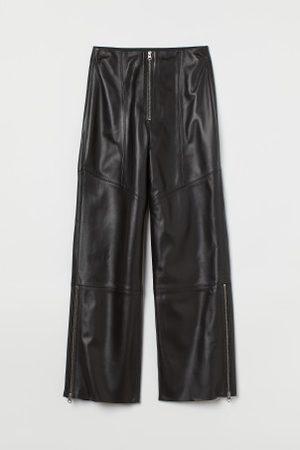 H&M Senhora Calças em Pele - Calças em pele com fechos