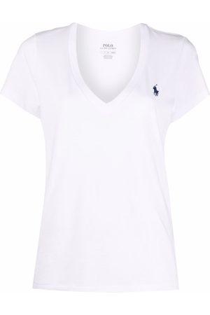Polo Ralph Lauren Embroidered-logo v-neck T-shirt