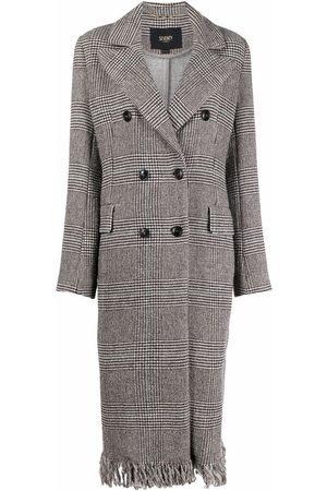 Seventy Senhora Casacos de Inverno - Double-breasted frayed-hem coat