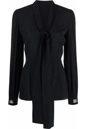 Dolce & Gabbana Logo-plaque pussy-bow blouse
