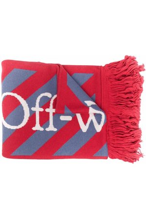 Off-White Striped fringed scarf