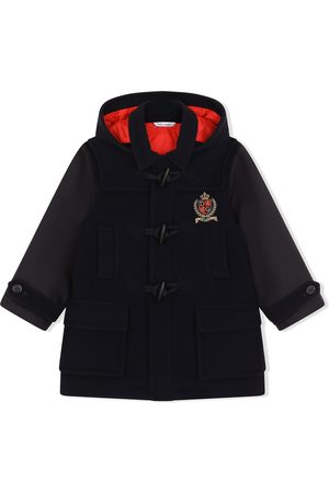 Dolce & Gabbana Kids Logo-patch hooded duffle coat