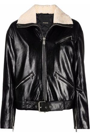 Pinko Shearling-trimmed biker jacket