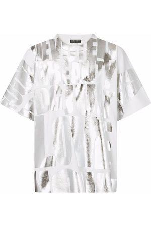 Dolce & Gabbana Homem T-shirts & Manga Curta - Metallic slogan-print T-shirt