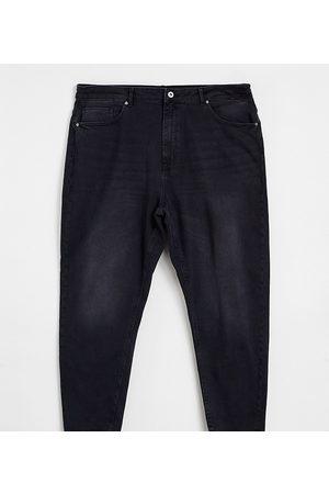 Only Curve Veneda slim mom jeans in washed black
