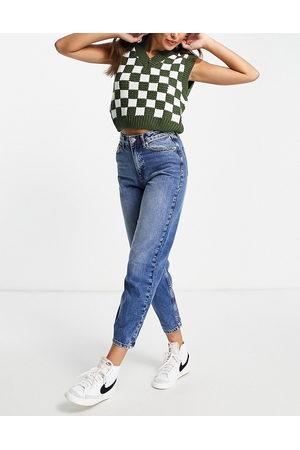 Miss Selfridge Mom high waist tapered jeans in darkwash blue