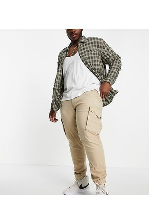 JACK & JONES Intelligence cuffed cargo trousers in tan organic cotton Exclusive at ASOS-Brown