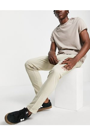 JACK & JONES Intelligence slim fit stretch trousers with pleats in beige with organic cotton-Neutral