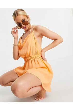 ASOS Senhora Macacões Curtos - Cowl neck skinny strap playsuit in orange