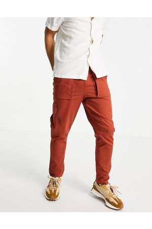 Selected Homme Cargo trouser in burnt red-Neutral
