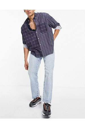Selected Homme Organic cotton loose tapered fit jeans in lightwash blue