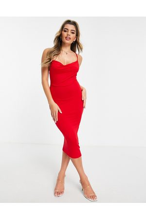 ASOS DESIGN Cami cowl neck midi dress in red