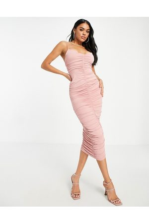 ASOS DESIGN Cami strappy midi dress with ruched detail in blush-Pink