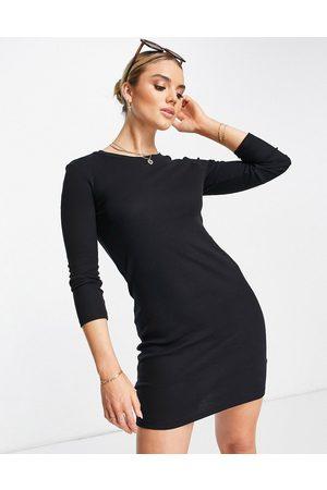VERO MODA Long sleeve bodycon dress in black