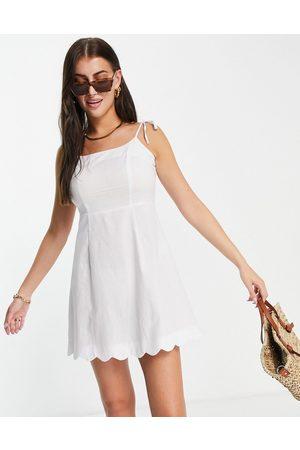 Fashion Union Mini square neck fitted beach dress with scallop trim in white