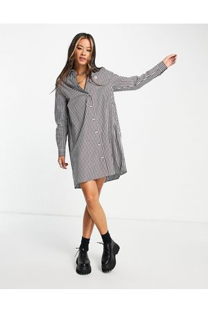 Fred Perry Senhora Vestidos Casual - Pleated gingham shirt dress in red check print