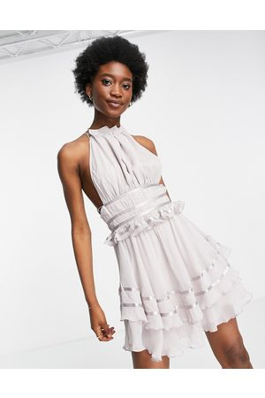 ASOS Soft halter mini dress with ruched waist detail and satin trim in mauve-Purple