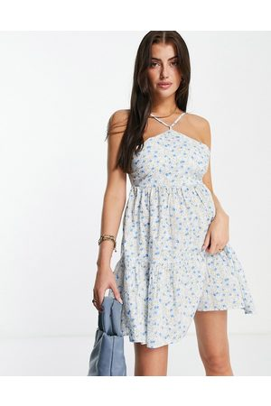 Fashion Union Chuck on mini beach swing dress in floral print-Multi