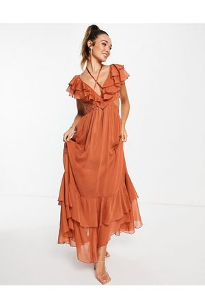 ASOS Ruffle maxi dress with lace up back and satin trims-Brown