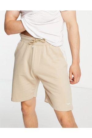 Threadbare Homem Calções - Contrast panel jersey shorts in stone-Neutral