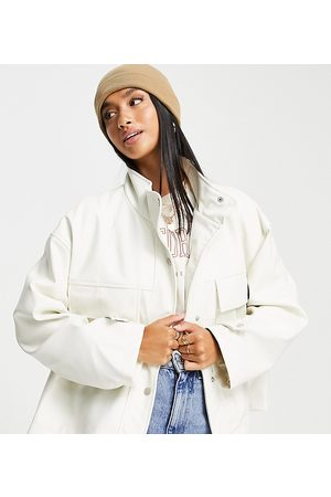 ASOS DESIGN Petite chuck on faux leather jacket in white