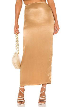 Camila Coelho Selina Maxi Skirt in - Metallic Copper. Size L (also in M, S, XL, XS).
