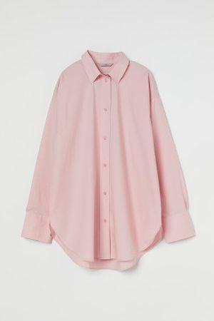 H&M Camisa em popelina de algodão