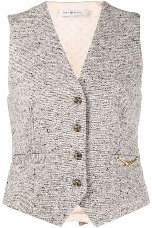 Tory Burch Senhora Coletes - Tweed horse-bit waistcoat