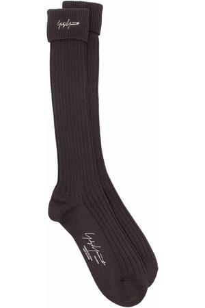 YOHJI YAMAMOTO Homem Meias - Embroidered logo ribbed socks