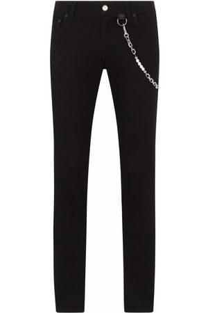 Dolce & Gabbana Homem Slim - Chain-link detail denim jeans