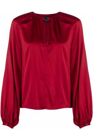 Pinko Keyhole long-sleeve silk blouse