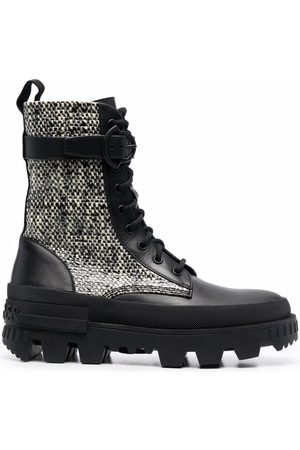 Moncler Tweed-panelled mid-calf boots