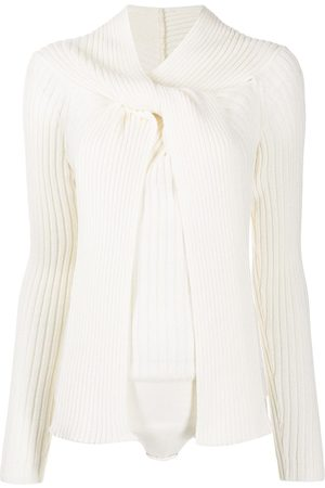 Msgm Ribbed-knit tie-fastening top