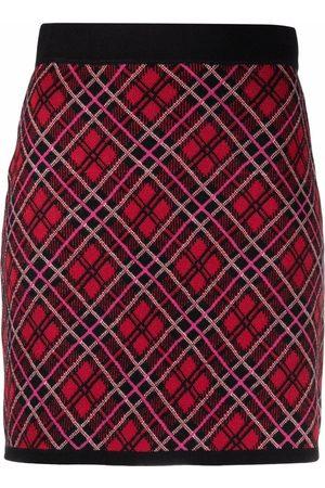 Pinko Plaid-pattern knit skirt