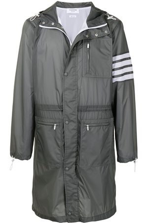 Thom Browne 4-Bar long hooded parka coat