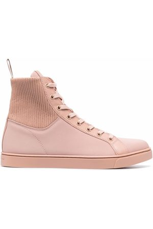 Gianvito Rossi Knit-panelled high-top sneakers